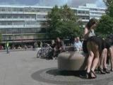Brunette whore undressed and fucked in various public places